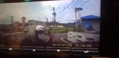 「三寶騎士」衝撞汽車  一臉不爽碎碎念