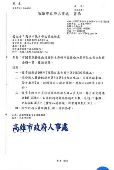 韓被質疑拿「有薪假」選總統 高市府:週休2日無須請假