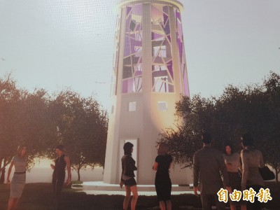 新營百年水塔裝置藝術 彩色玻璃鑲嵌將成地方地標