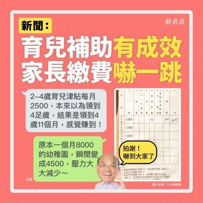 蘇貞昌圖解育兒補助:爸爸媽媽不要嚇一跳!