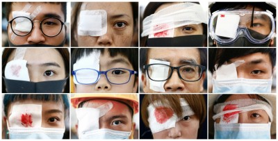 反送中》港人「警察還眼」行動 鎮暴警察現身機場內