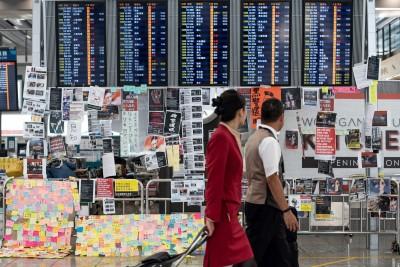 反送中》香港機場暫停報到服務  所有離港航班取消