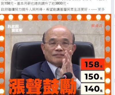 蘇貞昌:基本工資調漲 讓基層民眾生活更好