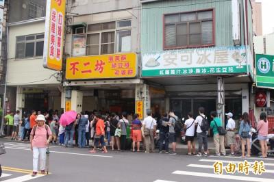 改名照排!彰化蛋黃酥名店人龍排到大馬路  排4小時也甘願