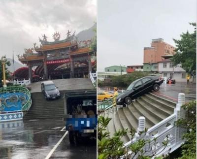 玩命關頭在台灣? 賓士俯衝「定格」天元宮廟前階梯