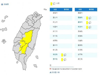 小心今晚還有雨!中南部5縣市大雨特報