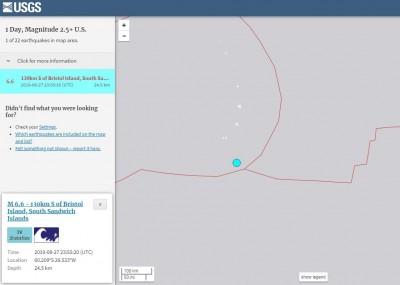 南桑威奇群島規模6.6強震 震源深度僅24公里