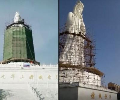 荒唐!中國強行整容宗教塑像 知名玉觀音竟被整成「嫦娥」