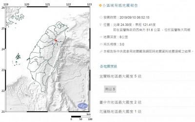 宜蘭06:52芮氏規模3.0地震 深度僅6公里最大震度5級