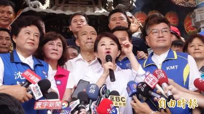 韓國瑜酸蔡英文拜廟沒人潮 要支持者下架民進黨
