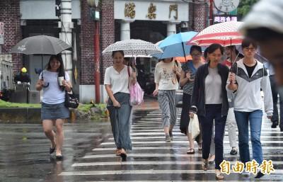 台灣周邊水氣多 各地從今日起至週日皆有雨