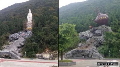 中國滅教又現荒唐景象 巨大觀音像竟遭改造為「大茶壺」