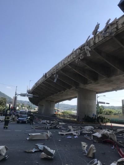 貨櫃車撞高架橋護欄駕駛身亡 隔音板碎片掉落橋下砸傷路人