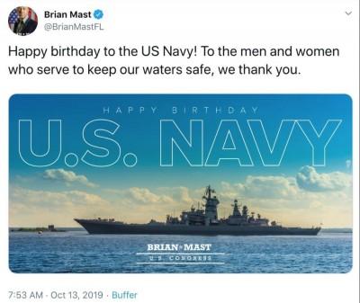 美眾議員祝賀海軍244週年 偏偏用的是俄國軍艦照片