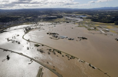 驚!「哈吉貝」大水淹沒貯存場 福島核廢料遭沖走