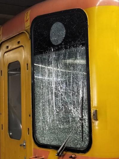 台鐵自強號駕駛艙又遭擊中 民眾割草彈起石塊所致