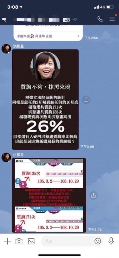 兩個女人戰爭開打!洪慈庸、楊瓊瓔 LINE群組激烈攻防