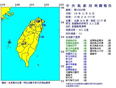 天搖地動!宜蘭南澳規模5.0地震 武塔、南澳震度4級