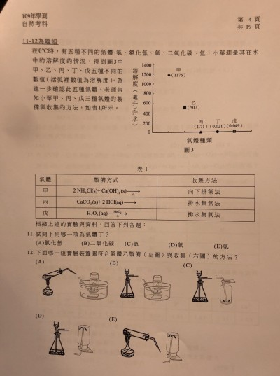 學測》自然科試題 首見文本敘述包含選項