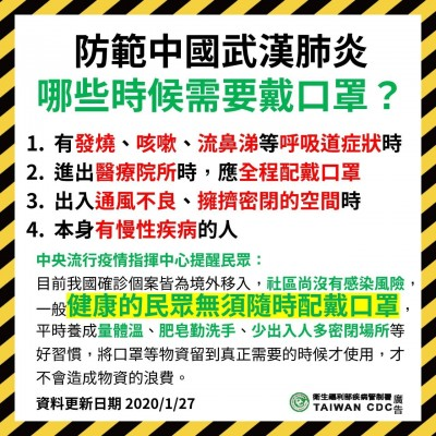 武漢肺炎》「哪些時候需要戴口罩」疾管署LINE貼圖宣導