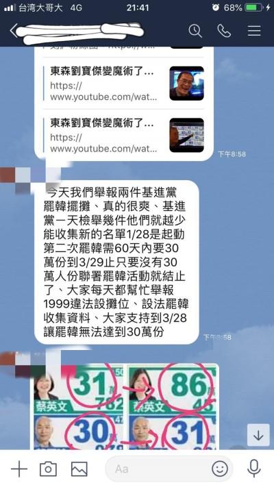 韓粉反制罷韓 台灣基進:每天檢舉罷韓連署攤位
