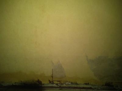 壁癌牆驚見山水畫?小船遊在霧茫茫的山河間 網友笑翻
