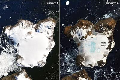 南極洲熱浪侵襲 鷹島9天融化20%積雪