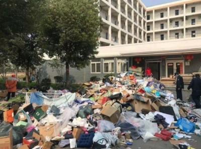 武漢肺炎》湖北大學宿舍被徵用 學生個人物品被當垃圾清掉