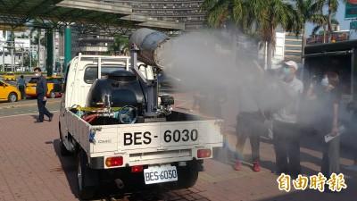 武漢肺炎》南市環保局研發砲霧消毒車 交通場站全面消毒
