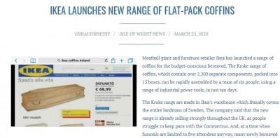 網傳IKEA在英國熱銷DIY棺材 經查是假新聞