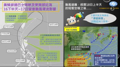 颱風「黃蜂」來了!外圍環流明起影響台灣 花東嚴防大雨