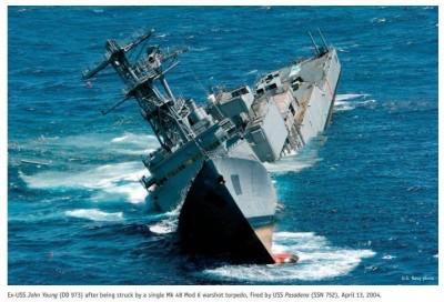 美售台魚雷有多猛?美軍驅逐艦靶船腰斬沉沒