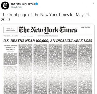 武漢肺炎》無止盡的名單...紐時頭版列出美國1000名死者名字