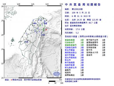 宜蘭縣外海發生芮氏規模5.2地震 最大震度4級