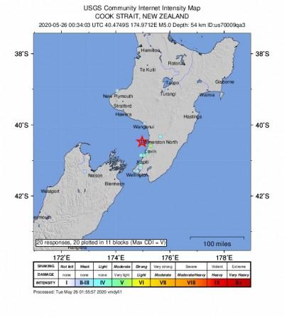 昨才出現規模5.6地震 紐西蘭今再發生規模5.0地震
