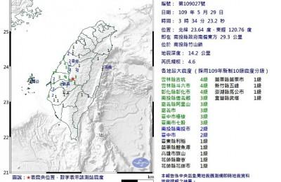 被搖醒!南投3:34規模4.6淺層地震 深度僅14.2km