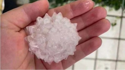 真巧?北京昨降冰雹酷似「冠狀病毒」 網友驚嘆「天意呀!」