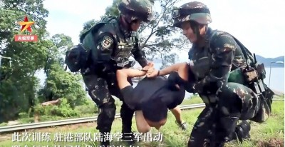 「秀肌肉」嚇香港?中官媒發布駐港解放軍「三軍聯演」影片