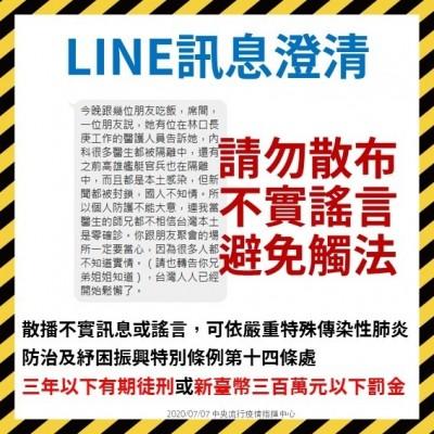 假的!網傳長庚多名醫生被隔離  指揮中心:警方已偵辦