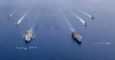 軍事動態》美雙航艦南海演練  全天候任務「單日出動軍機數百架次」