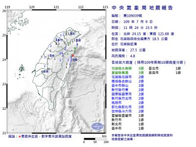 花蓮近海11:24發生規模4.8地震 最大震度3級