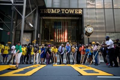 紐約市府力挺種族平權 川普大廈前漆上「黑人的命也是命」