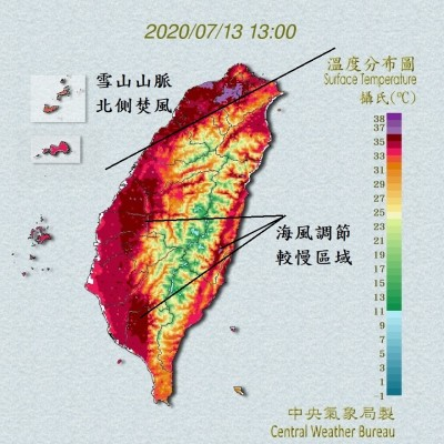 台北今高溫近39℃! 鄭明典1張圖揭原因:雪山以北有焚風現象