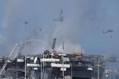 軍情動態》燒到華氏千度!美軍艦「好人理查號」 恐報廢