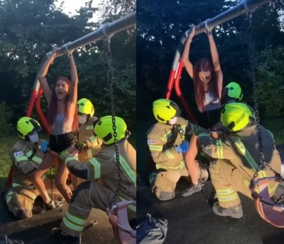 少女為拍影片屁股卡鞦韆 消防隊員救援超害羞