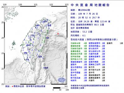 6.1有感地震夜襲全台 氣象局:未來一週不排除有4以上餘震發生