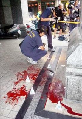 劉北元砍死女友的命案現場血跡斑斑。(記者廖耀東攝)