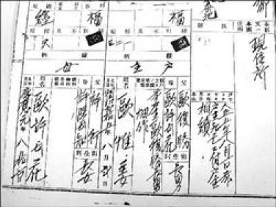 歐竹玲家族申請最早的澎湖戶政資料記載,第九代祖先的名字,都已去掉「陽」,名字是「歐復勝」。(記者李開菊攝)