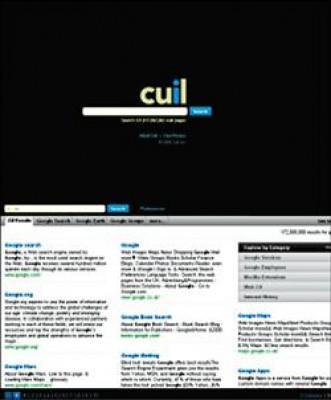 Cuil以類似雜誌版面風格的橫向塊狀排列,顯示更多照片和網頁內容;還有側邊欄(sidebar)顯示相關主題連結。(取自紐約時報)
