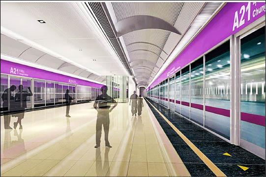 機場捷運定調為紫色系,圖為A21中壢環北站月台模擬畫面。(高鐵局提供)